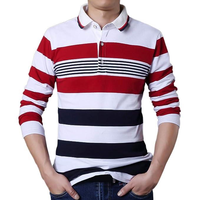 Sylar Camisetas Para Hombres Moda Estampado De Rayas Solapa Botón ...