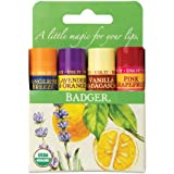 Badger - Classic Lip Balm Green Box, Tangerine Breeze, Lavender & Orange, Vanilla Madagascar, Pink Grapefruit, Certified…