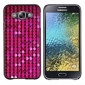 KLONGSHOP // Cubierta de piel con cierre a presión Shell trasero duro de goma Protección Caso - Modelo rosado púrpura puntos brillantes - Samsung Galaxy E5 E500 //