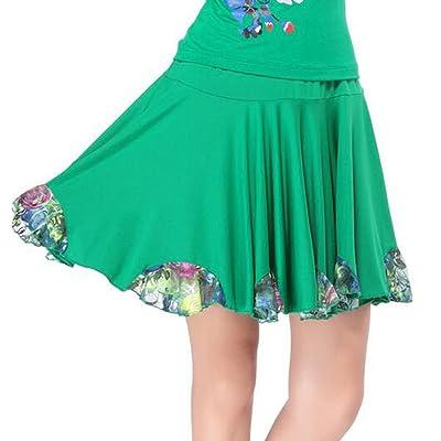 Apparel-Saymequeen Saymequeen Women Sports Skirts Latin Trumpet Skirt Dance Skirt Floral Dress