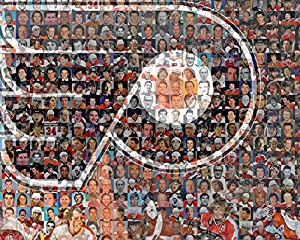 "NHL Philadelphia Flyers Photo Mosaic Print Art Designed Using 100 of the Greatest Flyer Players of All Time. 8x10"" Matted Print"