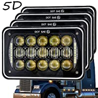 5D Lens 60W 4x6 Inch LED Headlights with DRL for H4651 H4652 H4656 H4666 H6545 Freightliner Kenworth Peterbilt International Volvo Sterling Western Star Mack(Black 4Pcs)