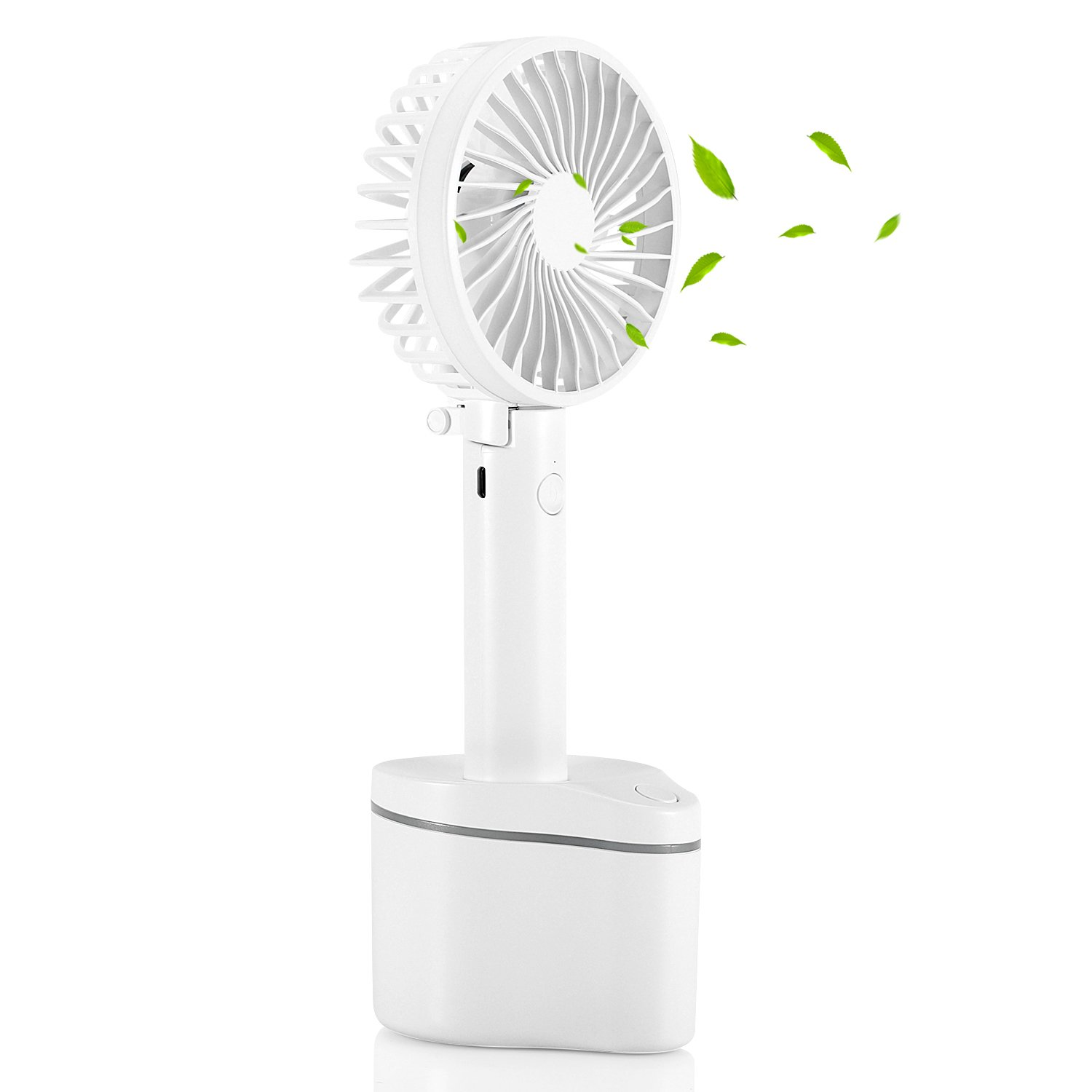 SENDOW Portable Rotating Desk Fan with 5 Speeds 180°Collapsible 2600mAh Capacity Rechargeable Mini USB Fans, Handheld Personal Fan Home, Office, Outdoor, Travel Cooling Fans White