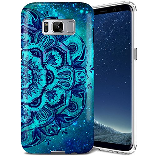 Galaxy S8 Case, ZUSLAB Mandala Design, Slim Shockproof Flexible TPU, Soft Rubber Silicone Skin Cover for Samsung Galaxy S8 (Blue Mandala)