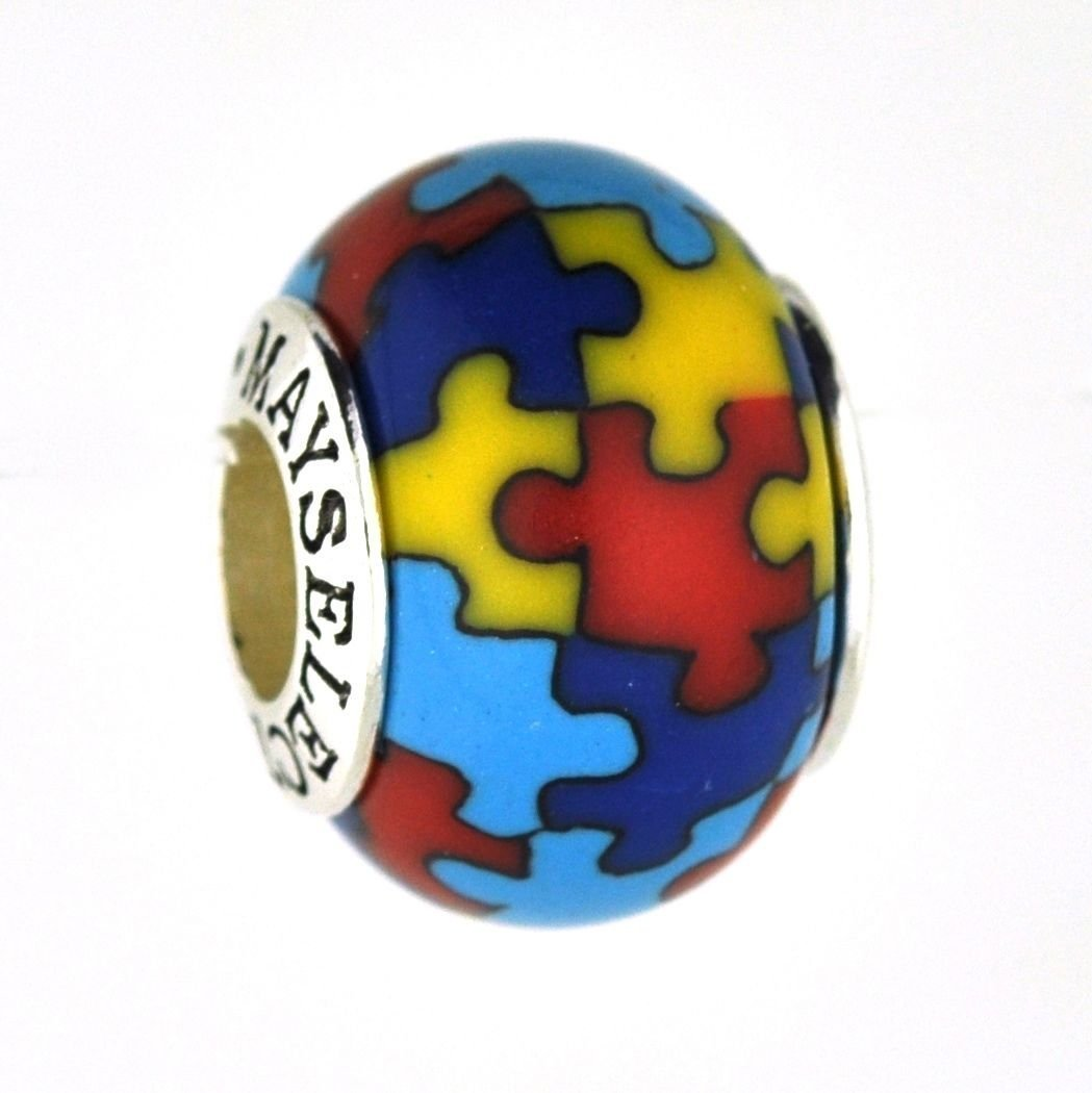 Autism Awareness Puzzle Jigsaw Bead Charm for European Style Add-A-Bead Bracelets Clay & Sterling Silver by MAYselect