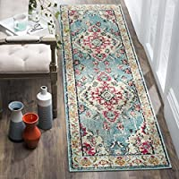 Safavieh Monaco Collection MNC243J Vintage Bohemian Light Blue and Fuchsia Pink Distressed Runner (22 x 16)
