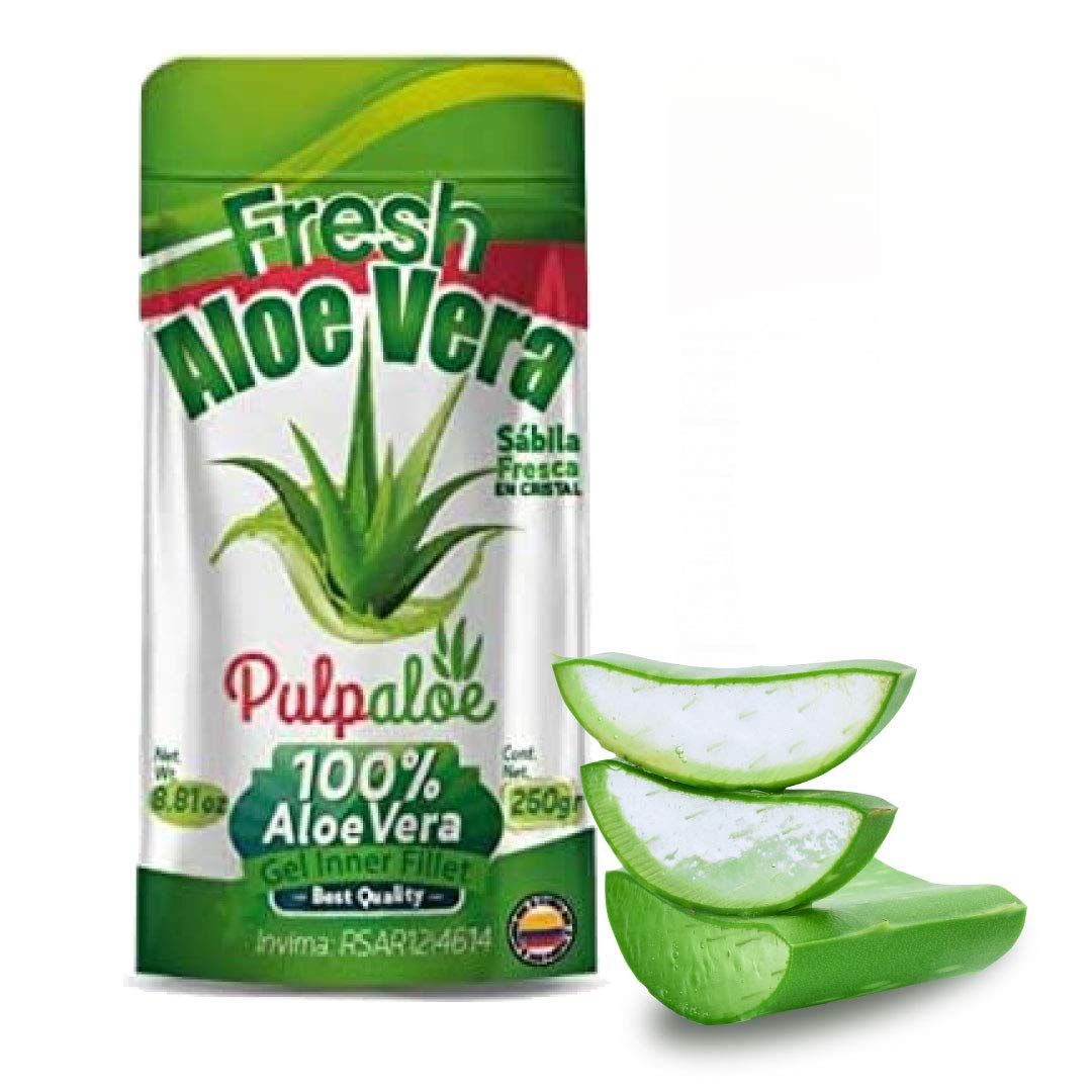 Aloe Vera Pulp 100% Pure Aloe | Cristal de Aloe Vera Natural (8.8 Oz, 6 Pack) - 52.8oz TOTAL, Food-Grade, Deeply Moisturizing Skin & Hair, No Xanthan w/No Sticky Residue, Organic, Kosher by Pulpaloe