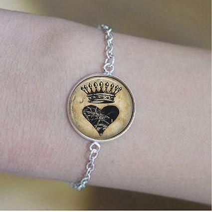 amazon com antique vintage heart with crown bracelets heart and
