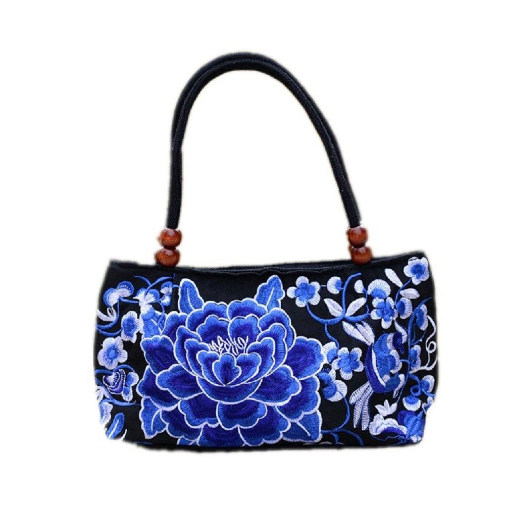 Hui Ma Blossom Flower Embroidered Fashion Top Handle Shoulder Handbag (purple)