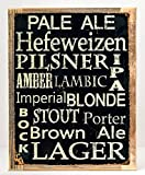 Beer Types Around the World Metal Sign , Framed on Rustic Wood, Casual Den, Bar