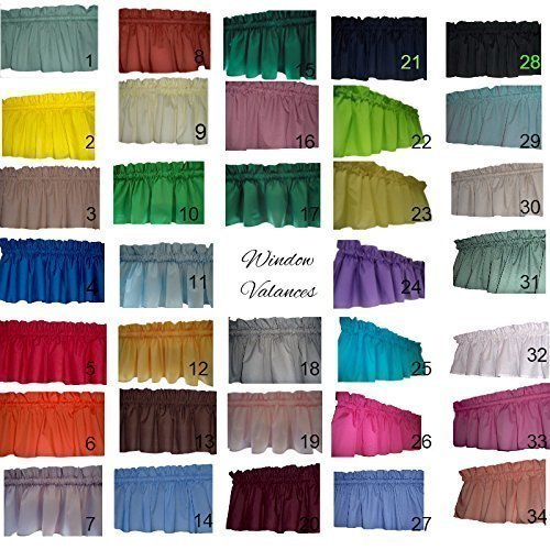 Solid valance curtains Light Blue, Mustard Yellow, Brown, Teal, Dusty Pink, Hunter Green, Grey, Light Pink, Grey, Burgundy maroon, Valance Curtain. 58