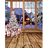 5x7ft Christmas Tree Gift Wooden Floor Snow Photography Background Computer-Printed Vinyl Backdrops
