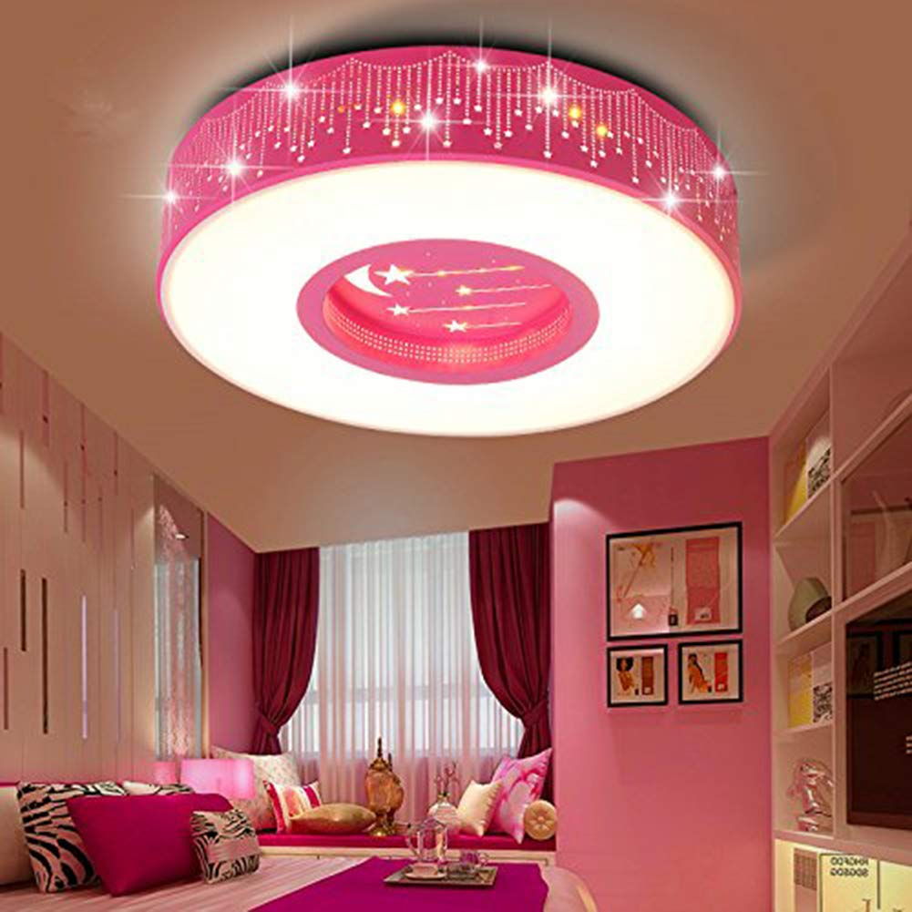 Lyxg childrens room light girls bedroom light ceiling lamp led light princess warm rooms stars romantic round lights 40cm