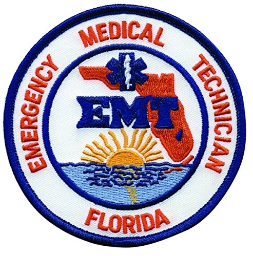 FLORIDA EMERGENCY MEDICAL TECHNICIAN - Shoulder Patch, EMT Star of Life, Royal Blue Border, 4