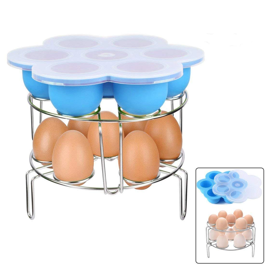 Stackable Stainless Steel Egg Steamer Rack With Silicone Egg Bites Molds for Instant Pot Accessories, Fits Instant Pot 5,6,8 qt Pressure Cooker Food Vegetable Steam Rack Stand, Multifunction! 3 PCS OYOY