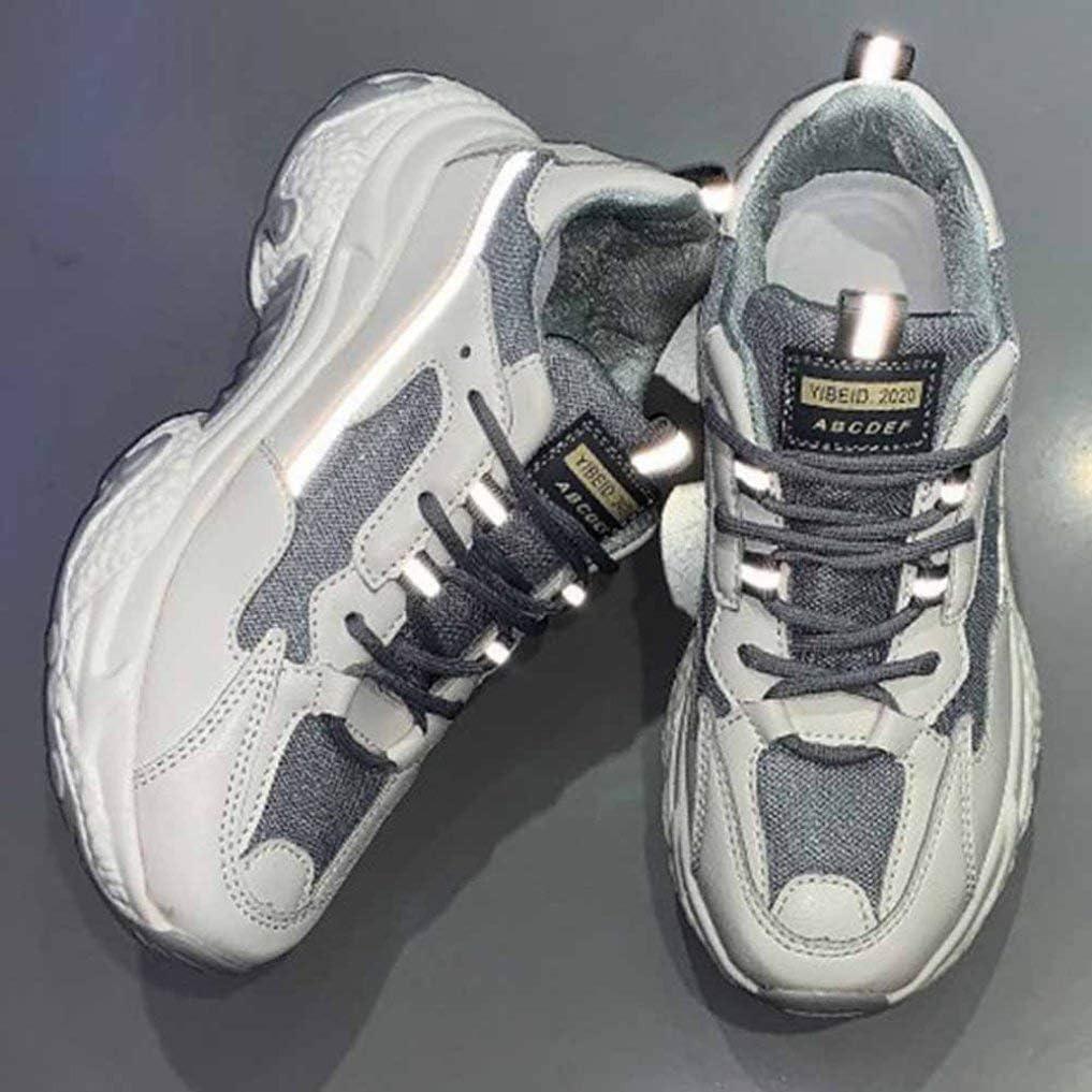 Chaussures de Sport à Plateforme en Mesh Respirant pour Femmes Outdoor Chaussure a Lacets en Casual Tendance Respirant Endurance Gris