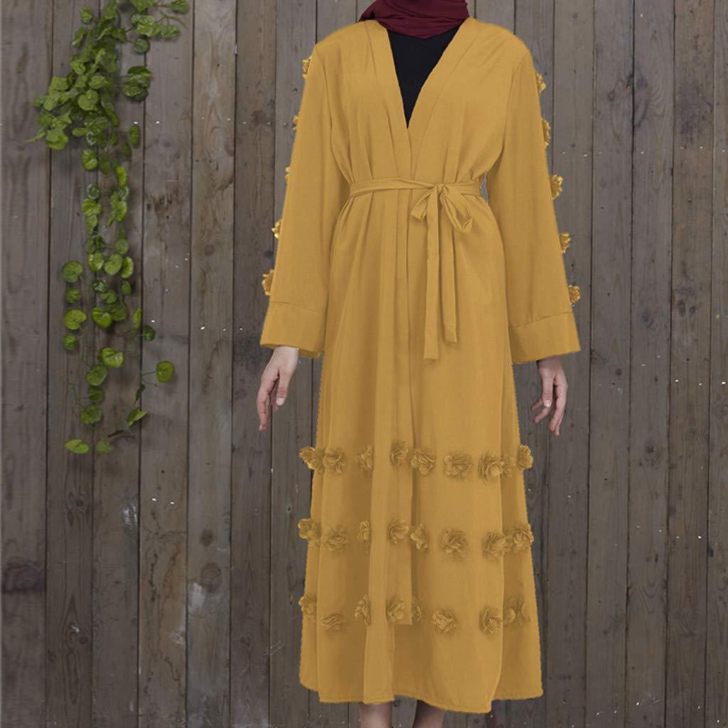 LILICAT✈✈ 2019 Bata de Verano Elegante Vestido Largo túnica Vestido de Cadera con Mangas de Trompeta de Rayas Plisadas y Sexy de Verano musulmán Verano ...