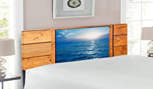 Lunarable Rustic Headboard, Window Sea View from Wooden Oak Square Frame Room Sunrise Sun Rays Rustic, Upholstered Decorative Metal Bed Headboard with Memory Foam, Queen Size, Caramel Blue