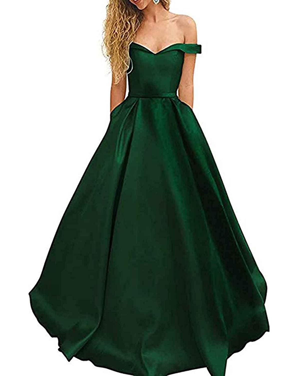 Dark Green WHLWHL OffTheShoulder Long Prom Dress Party Gowns for Women 2019 Evening with Pockets