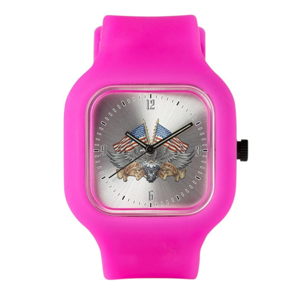 Bright Pink Fashion Sport Watch Eagle American Flag Motorcycle Engine