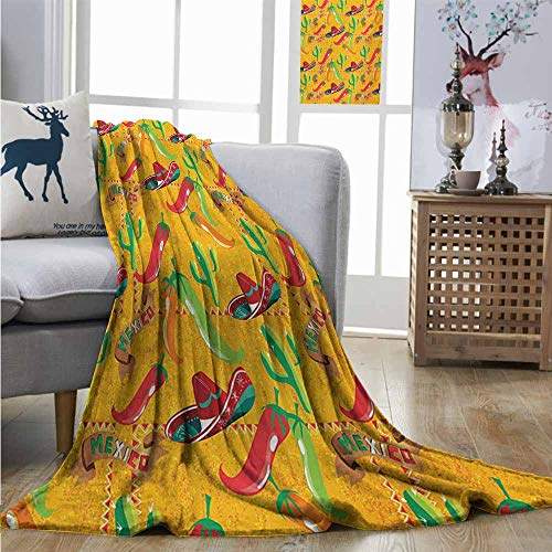 (Homrkey Plush Throw Blanket Mexican Elements with Cactus Hat and Chili Pepper Pattern Over Grunge Background Print Blankets W51 xL60 Multicolor)