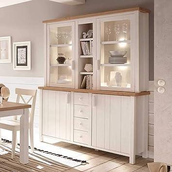 Pharao24 Esszimmer Buffet Im Skandinavischen Landhausstil Weiß Und Eiche  LED Beleuchtung Energieeffizienzklasse LED
