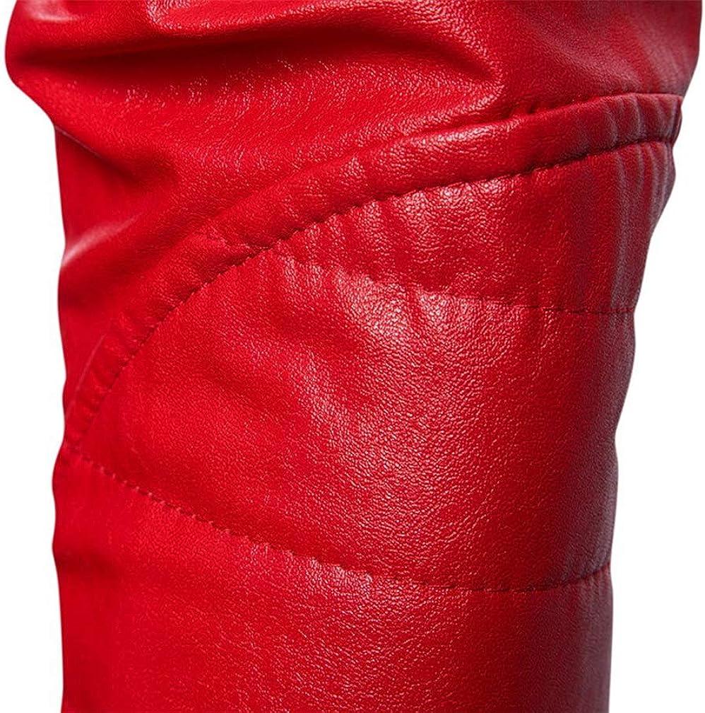 TMHOO Hommes Classique Col Debout Simili-Cuir Manteau Slim Fit PU-Cuir Veste Printemps Automne en Plein air Moto Biker Loisir Blousons Simple Mode Respirant Rouge
