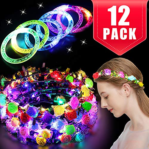 12 Pack Party Favors for Kids Adults, 6 LED Flower Headbands for Women 6 Glow Sticks Bracelet Mardi Gras Glow in The Dark Party Supplies Led Flower Crowns Glow Party Accessories Light Up Toys Bulk