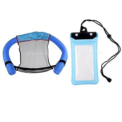 Baoblaze Premium Silla Flotador con Fideos Flotantes + Bolsa Seca para Guardar Teléfono