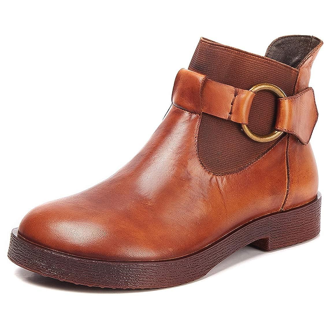 SERAPH Donne retrograve; Chelsea stivali pelle tondo velcro WT185-2 autunno stivaletti tacco basso WT185-2 velcro Lightbrown 1de32e