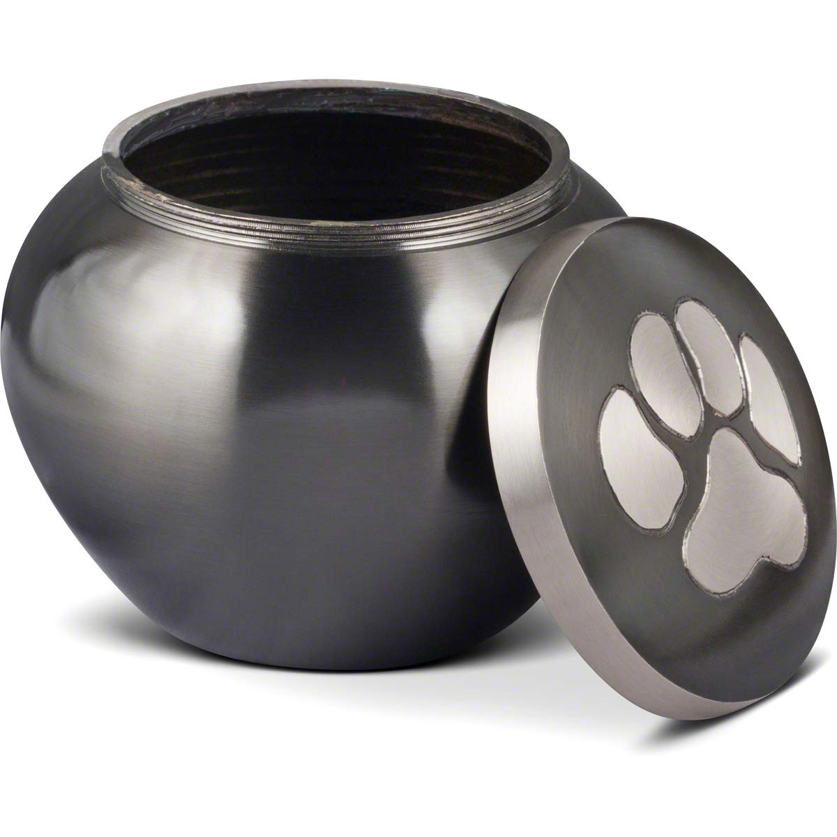 Dog and Cat Pet Cremation Urn, The Mia Series with Slate Finish and Hand Carved Pewter Paw, Small Size to Memorialize Pets up to 25lbs by Best Friend Services