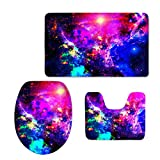 Color Changing Bathroom Mat Bigcardesigns Fashion Space Printed Bathroom Anti-Slip Mats Set