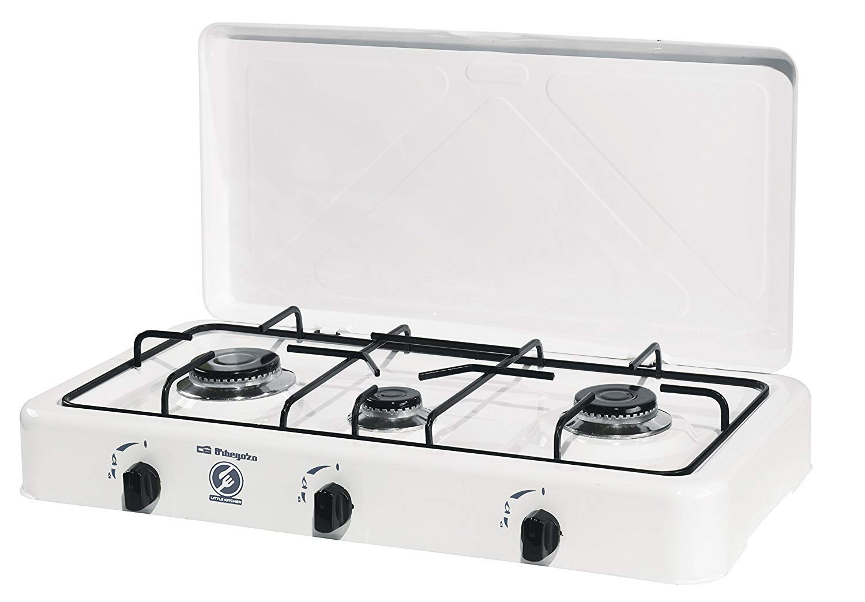 ElectrodomesticosN1 Pack Hornillo a Gas Orbegozo fo 3450 Blanco, 3 Fuegos + Regulador de Gas butano HVG, Tubo Manguera 1, 5 Metros, Abrazaderas: Amazon.es: ...