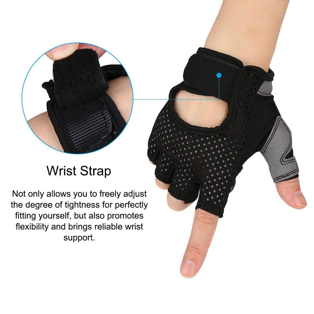 VBIGER Cycling Gloves, Men\'s Half Finger Biking Gloves MTB Gloves with Anti-Shock Gel Pad (C-Black, L)