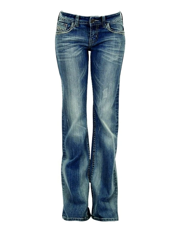 Cowgirl Tuff Western Denim Jeans Womens Phoenix Whiskering Med JPHNIX