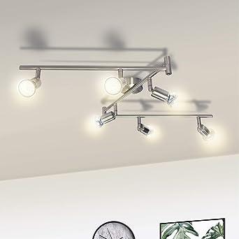 Lámpara de Techo LED Orientable, Wowatt Luz de Techo Interior Focos Giratorios 6x 6W Spot Bombillas GU10 Bajo Consumo 230V 2800K Blanco Cálido 600lm ...