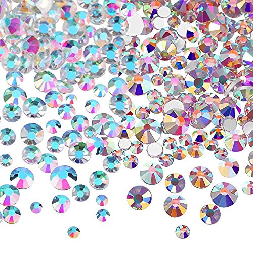 Bememo 3456 Pieces Nail Crystals AB Nail Art Rhinestones Round Beads Flatback Glass Charms Gems Stones, 6 Sizes for Nails Decoration Makeup Clothes Shoes (Crystal AB, AB Clear, Mixed SS4 5 6 8 10 12)