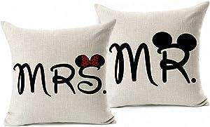 Esunshine Cotton Blend Linen Square Throw Pillow Cover Decorative Cushion Case Pillow Case 18 X 18 Inches / 45 X 45 cm, Disney (Mickey & Minnie)