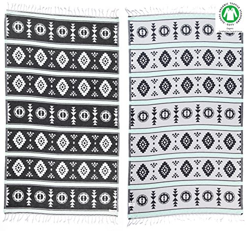 Woven Bamboo Throw (Bersuse 100% Organic Cotton Campeche Turkish Towel - 37X70 Inches, Black/Mint Green, 1 Piece)