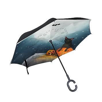 coosun gato negro en la luna Noche Doble Capa Paraguas invertido Reverse paraguas para coche y