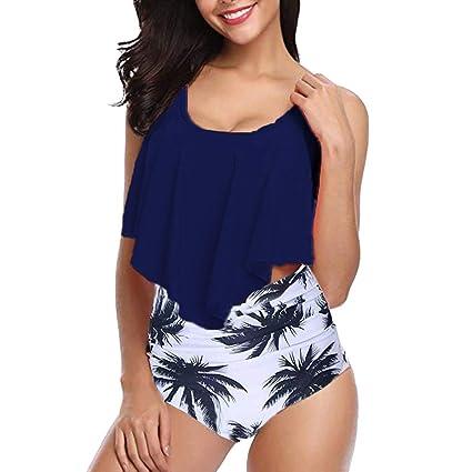 0042020980b2b Amazon.com  NEARTIME Women s Swimsuits Laides Two Piece Plus Size Bikini  Sexy Backless Halter Printed Swimwear Set Flower Tankini  Sports   Outdoors