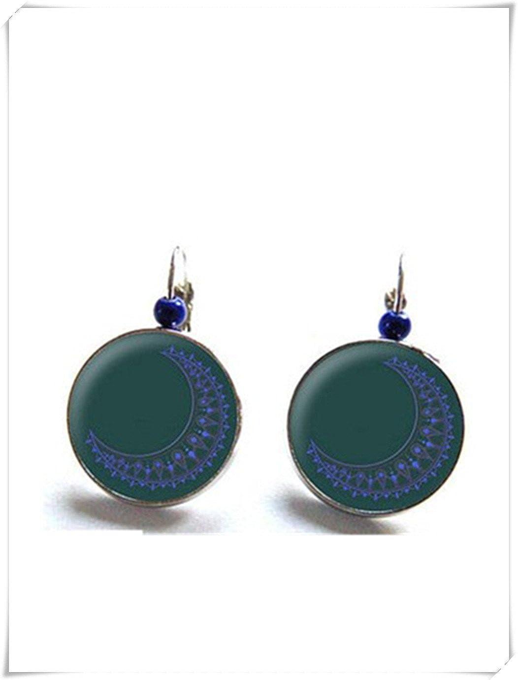 Elf House Pendientes de luna azul, cabujones de cristal, pendientes de perlas mágicas, joyería de cristal de cúpula, puro hecho a mano