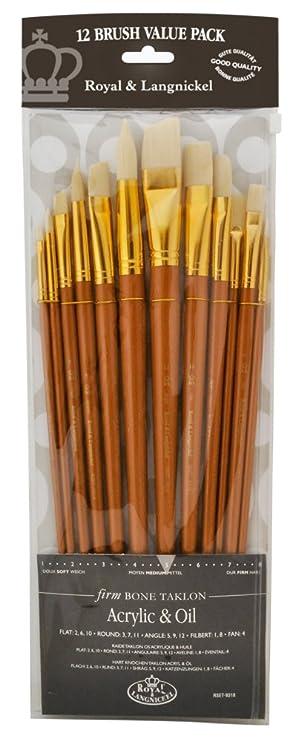 Painting Supplies Cheap Price Royal And Langnickel Rset-9318 Long Handle Taklon Variety Brush Set Firm Bone