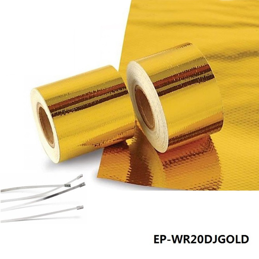 Epman 2' X 5 Meter Roll Self Adhesive Reflect a Gold Heat Wrap Barrier Performance Heat Protection Tape YiPin