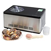 Electric Ice Cream Maker Machine Digital Display 60 Minute Built in Compressor- No Pre-Freezing Required 2 Litre, 2 Year Warranty by Koölle