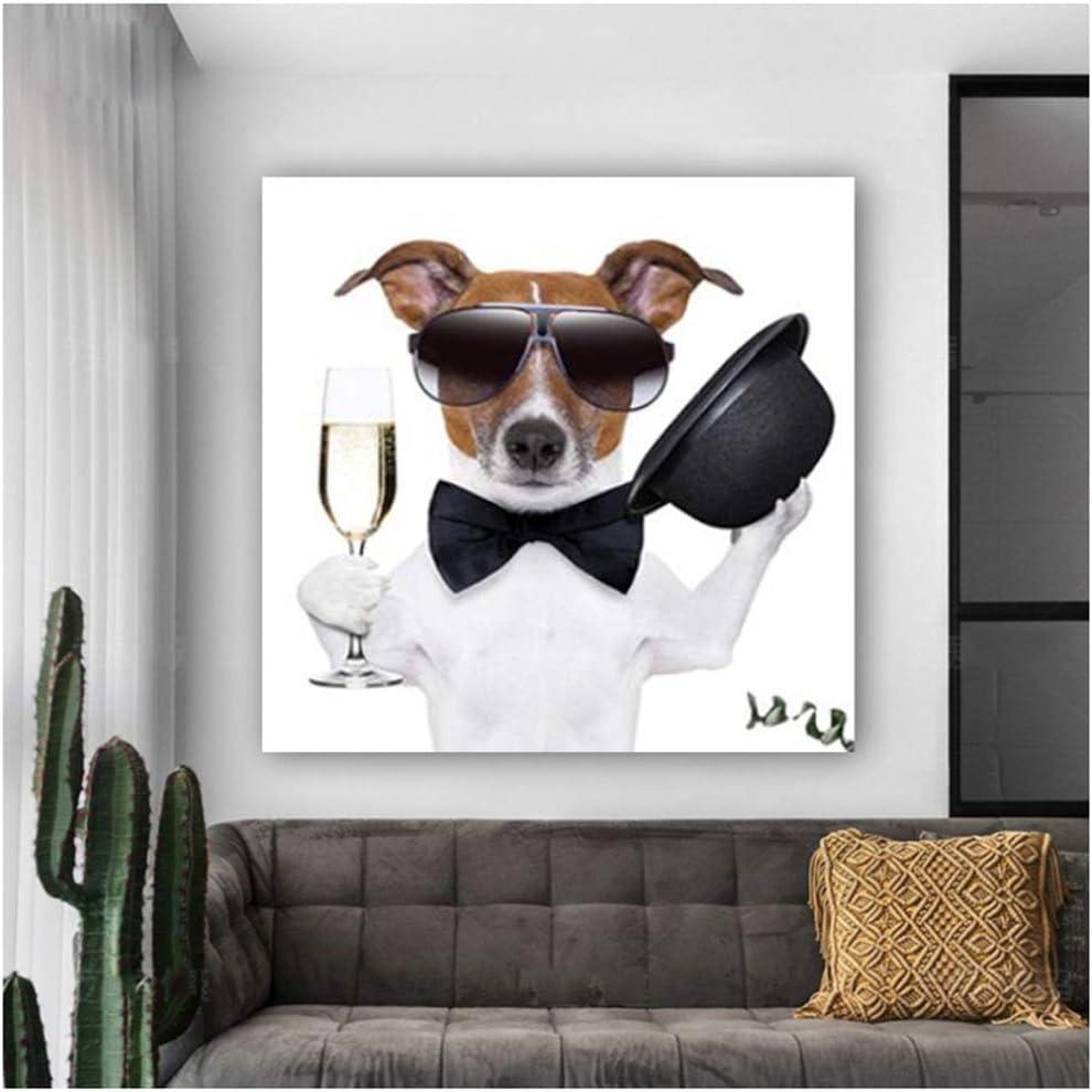 Cuadro en lienzo Pinturas Arte animal moderno Cuadro de la pared Cartel abstracto del perro de la historieta Decoración del hogar de la habitación del niño 40x40cm Con marco de acuarela