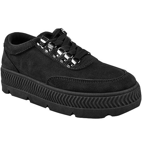 Fashion Thirsty Negro Forma Plana Zapatillas Cuña Deportes para Dama Trabajo Zapatillas Creepers Talla por Heelberry: Amazon.es: Zapatos y complementos