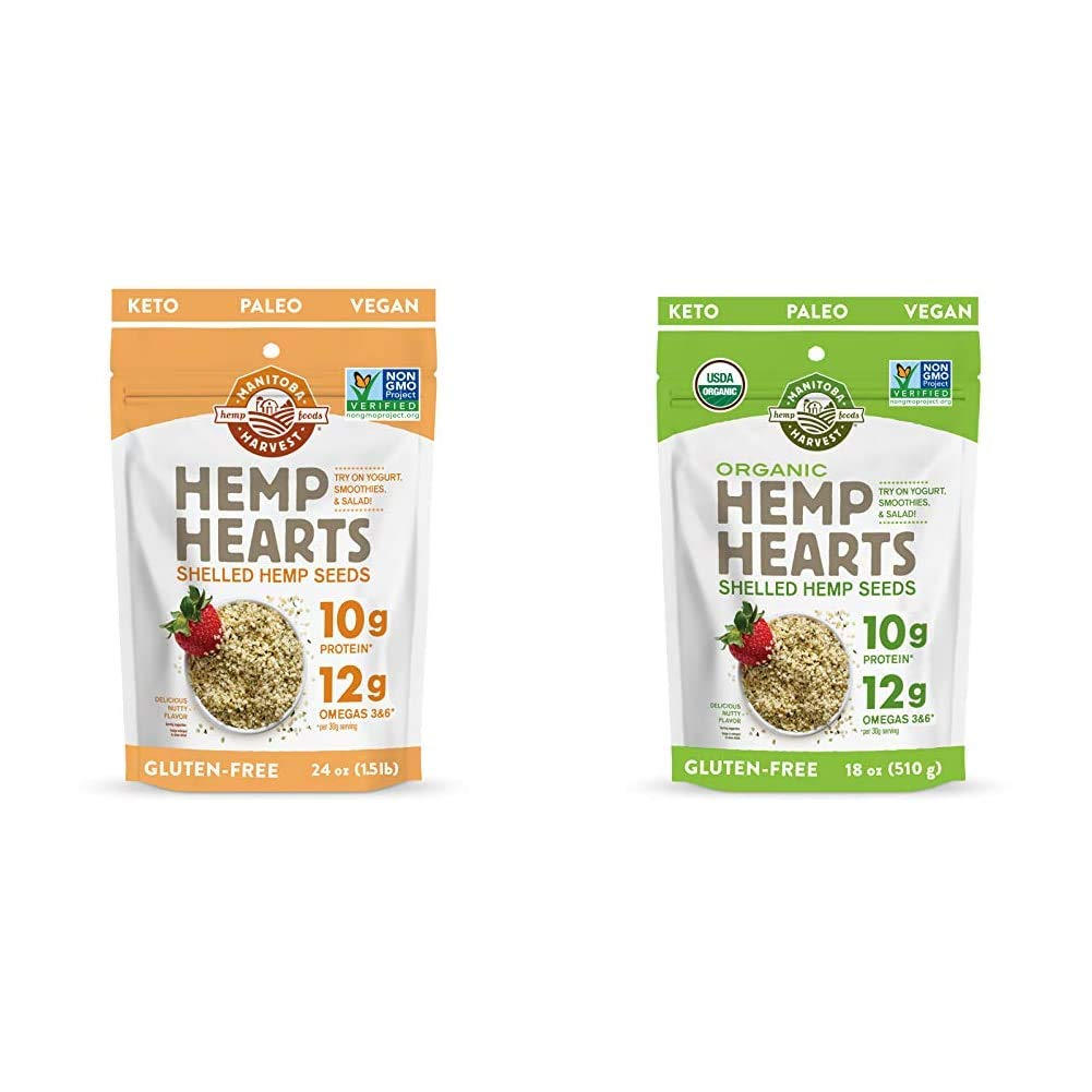 Manitoba Harvest Hemp Hearts Shelled Hemp Seeds, 24oz; with 10g Protein & 12g Omegas per Serving & Organic Hemp Hearts Shelled Hemp Seeds, 18oz; with 10g Protein & 12g Omegas per Serving