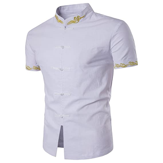 Thadensama Chinese Style Cotton Men Shirts Embroidered Casual Male Shirt Slim Fit Mens Formal Shirts Short Sleeve White Black at Amazon Mens Clothing store ...