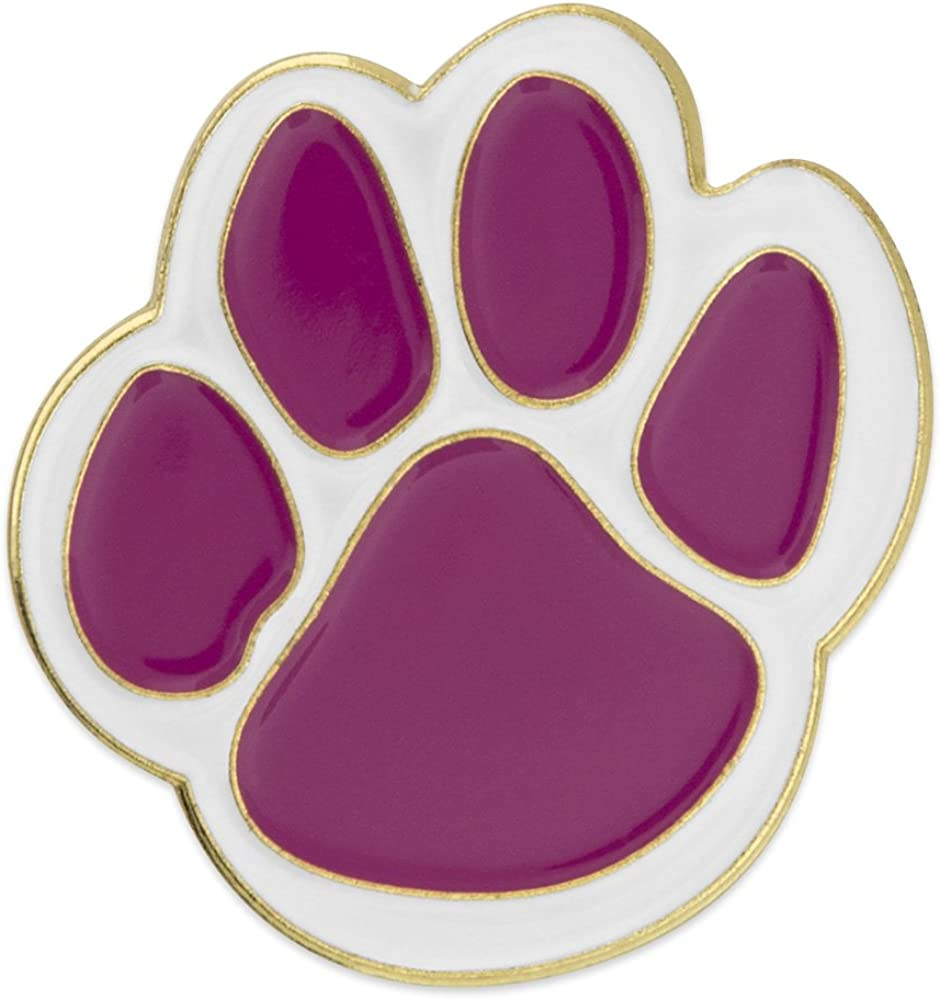 PinMart Purple and White Animal Paw Print School Mascot Enamel Lapel Pin